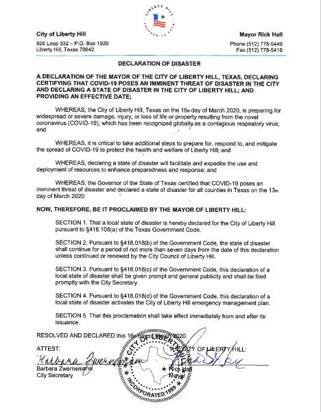 Signed Declaration of Disaster 3.16.2020